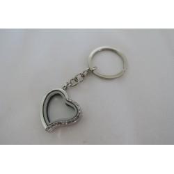 Porte-clef argenté coeur...
